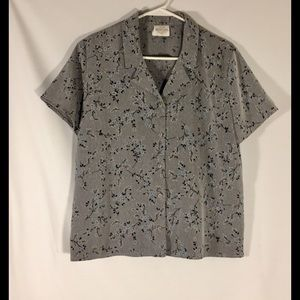 Bentley Size Large Gray With Blue Flowers Top